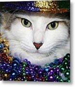 Mardi Gras Kitty Metal Print