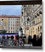 Mareinplatz And Glockenspiel Munich Germany Metal Print