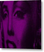 Marilyn And Mona Purple Metal Print