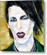 Marilyn Manson Oil Portrait Metal Print