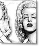 Marilyn Monroe Art Long Drawing Sketch Poster Metal Print by Kim Wang