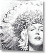 Marilyn Monroe In Headdress Pencil Portrait Metal Print