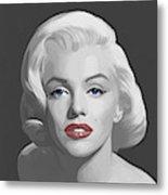Marilyn Trio Red Lips Blue Eyes Metal Print