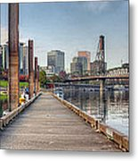 Marina Along Willamette River In Portland Oregon Downtown Metal Print