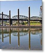 Marina By Willamette River In Portland Oregon Metal Print