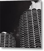 Marina City Morning B W Metal Print by Steve Gadomski