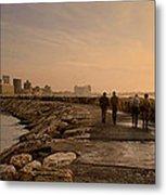 Marina Pier And Pan Of Coast Metal Print