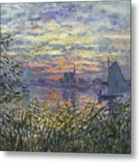 Marine View With A Sunset Metal Print