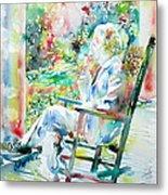 Mark Twain Sitting And Smoking A Cigar - Watercolor Portrait Metal Print by Fabrizio Cassetta