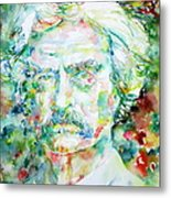 Mark Twain - Watercolor Portrait Metal Print by Fabrizio Cassetta