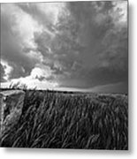 Marker - Black And White Photo Of Stone Marker And Brewing Storm In Kansas Metal Print
