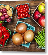 Market Fruits And Vegetables Metal Print by Elena Elisseeva