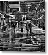 Market Square In The Rain - Knoxville Tennessee Metal Print