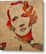 Marlene Dietrich Movie Star Watercolor Painting On Worn Canvas Metal Print