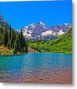 Maroon Bells In Color Metal Print
