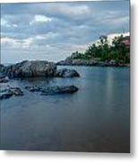 Marquette Lower Harbor Lighthouse At Dusk Metal Print
