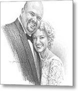 Married Hug Pencil Portrait Metal Print
