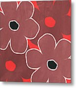 Marsala And Red Flowers- Bold Floral Art Metal Print