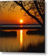 Ocean City Sunset At Old Landing Road Metal Print