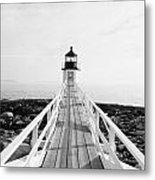Marshall Point Approach - Black And White Metal Print