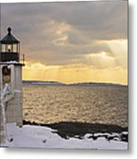 Marshall Point Lighthouse In Winter Maine  Metal Print