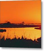 Marshland At Dusk, Bayou Country, Route Metal Print