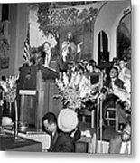 Martin Luther King Jnr 1929 1968 American Black Civil Rights Campaigner In The Pulpit Metal Print