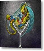 Martini Dragon Metal Print