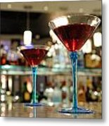 Martini Glasses In Bar Metal Print