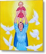 Mary Offers Her Child Jesus To His Father Metal Print