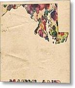 Maryland Map Vintage Watercolor Metal Print