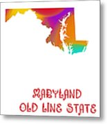 Maryland State Map Collection 2 Metal Print