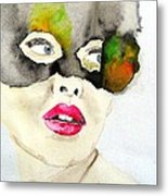 Mask In Watercolor Metal Print