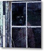 Masked Man Looking Out Window Metal Print