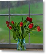 Mason Jar With Tulips Metal Print by Kay Pickens