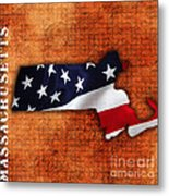 Massachusetts American Flag State Map Metal Print