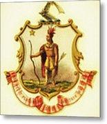 Massachusetts Coat Of Arms - 1876 Metal Print