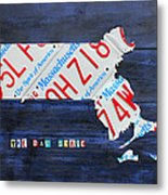 Massachusetts License Plate Map Metal Print