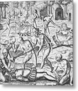 Massacre Of Christian Missionaries Metal Print by Theodore De Bry