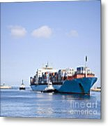 Massive Container Ship Entering River Mouth Assisted By Two Tugs Metal Print