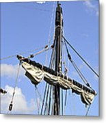 Mast And Rigging On A Replica Of The Christopher Columbus Ship P Metal Print