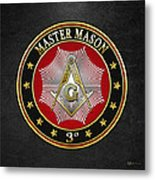 Master Mason - 3rd Degree Square And Compasses Jewel On Black Leather Metal Print