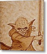 Master Yoda Jedi Fight Beer Painting Metal Print