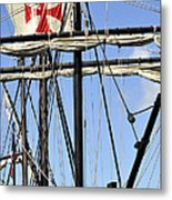 Masts And Rigging On A Replica Of The Christopher Columbus Ship  Metal Print
