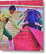 Matador Leading Bull Metal Print