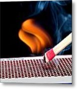 Matchstick On Fire Metal Print