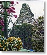 Matterhorn Mountain With Flowers At Disneyland Metal Print