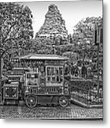 Matterhorn Mountain With Hot Popcorn At Disneyland Bw Metal Print