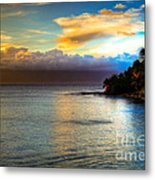 Maui Palm Sunset Metal Print