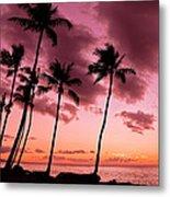 Maui Silhouette Sunset Metal Print